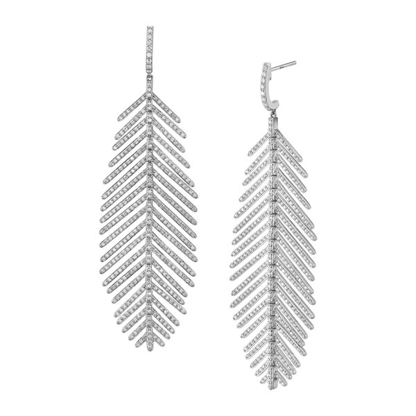 Feather Earrings with White Diamond Detail 18K White Gold