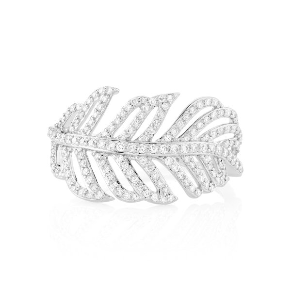 Feather Ring with White Diamond Detail 18K White Gold