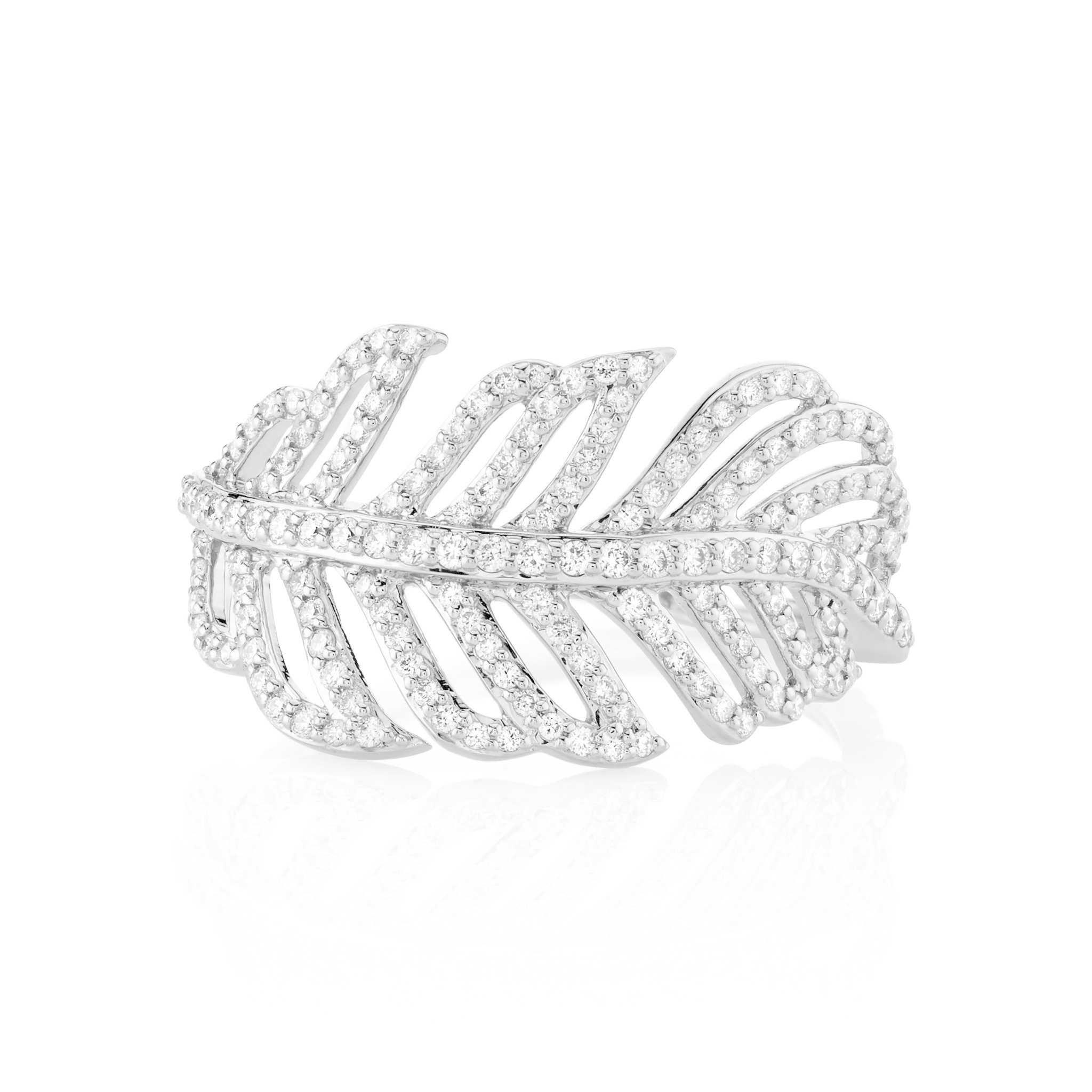 Feather Ring with White Diamond Detail 18K White Gold