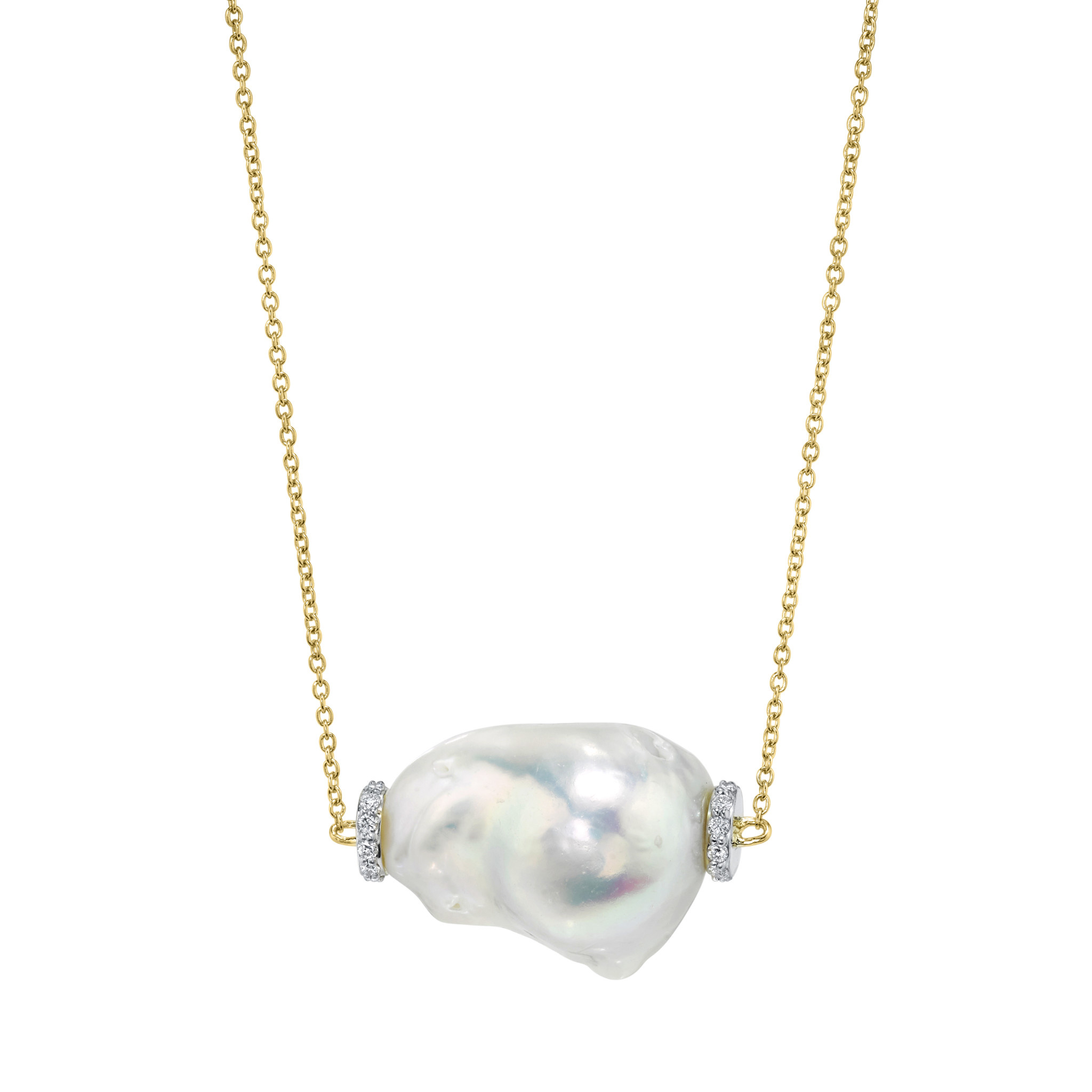 Baroque Pearl Chain with Diamond Detail 18K Yellow Gold