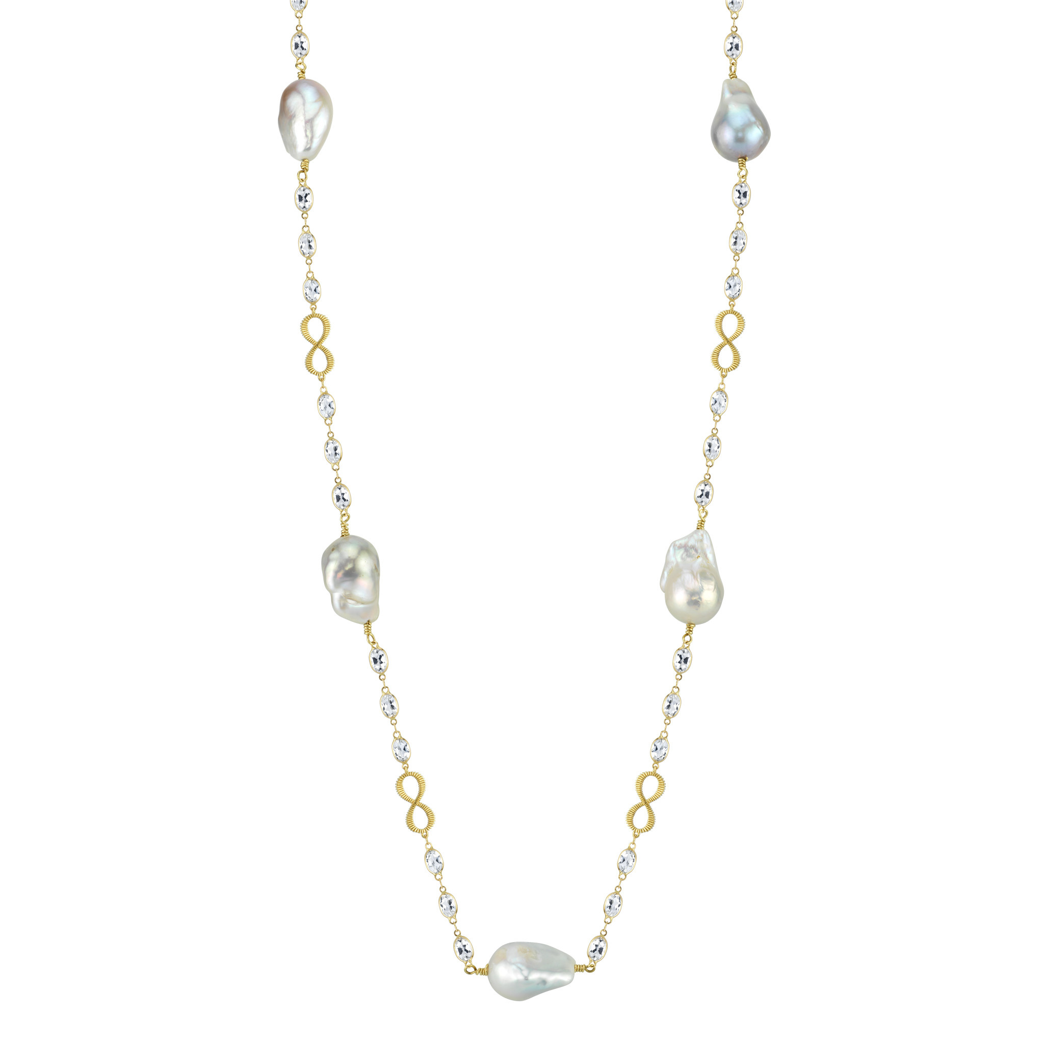 White Topaz Infinity Chain with Baroque Pearls