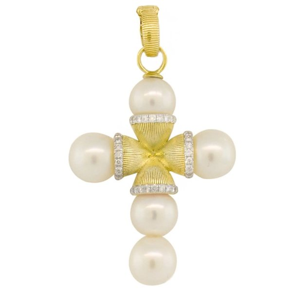 Cross Pendant with Freshwater Pearl and Diamond Detail