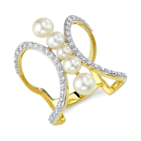 Akoya Pearl Ring with White Diamond Detail
