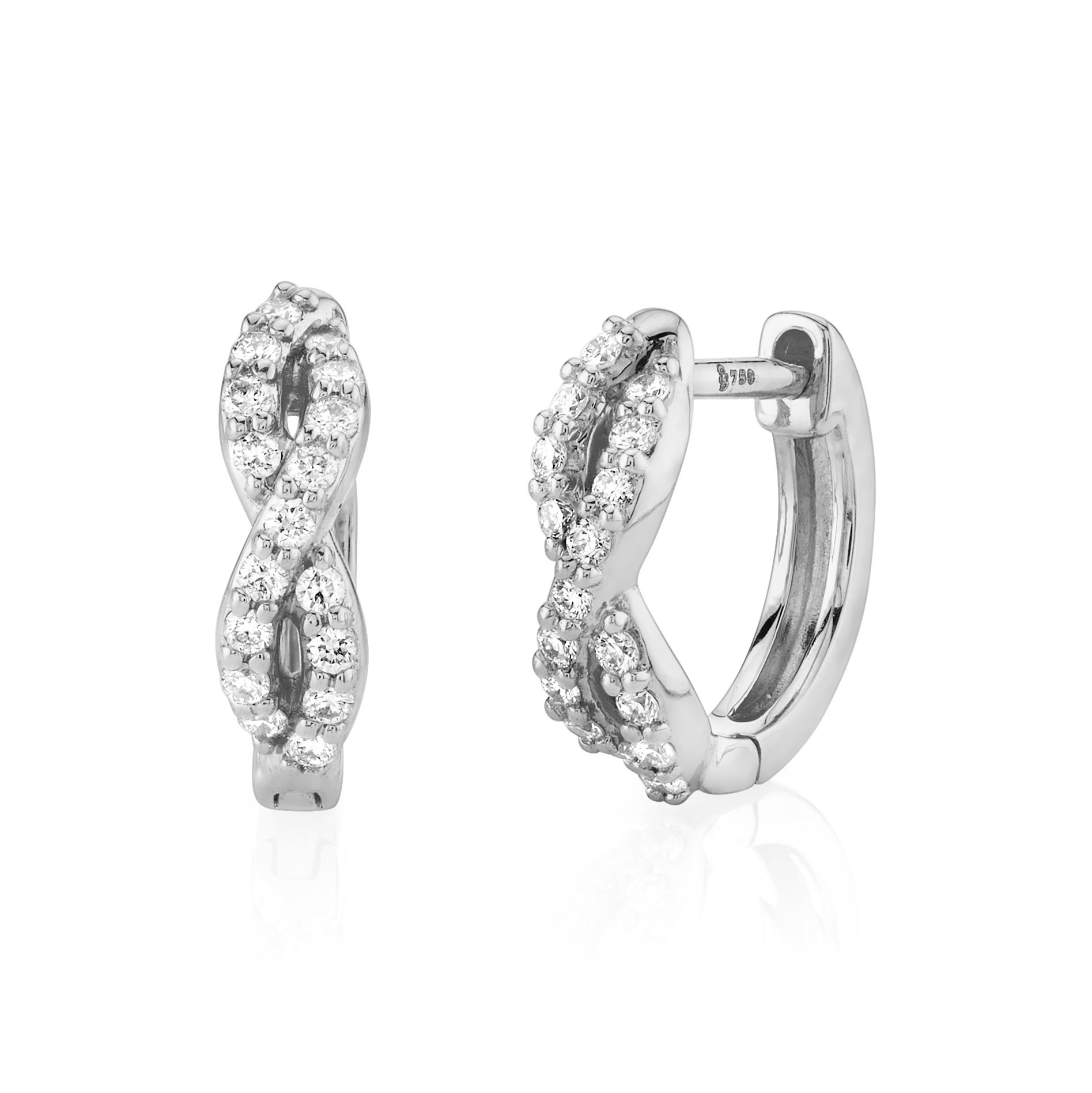 White Gold Braided Huggie Hoop Earrings