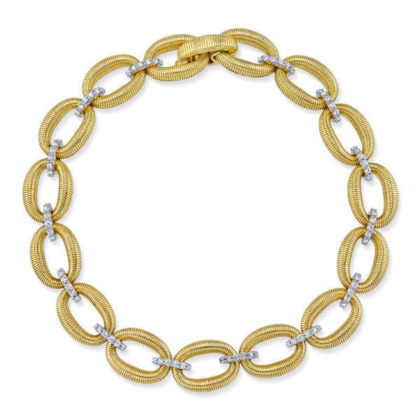 Small Link Bracelet with Strie & White Diamond Detail, 18K