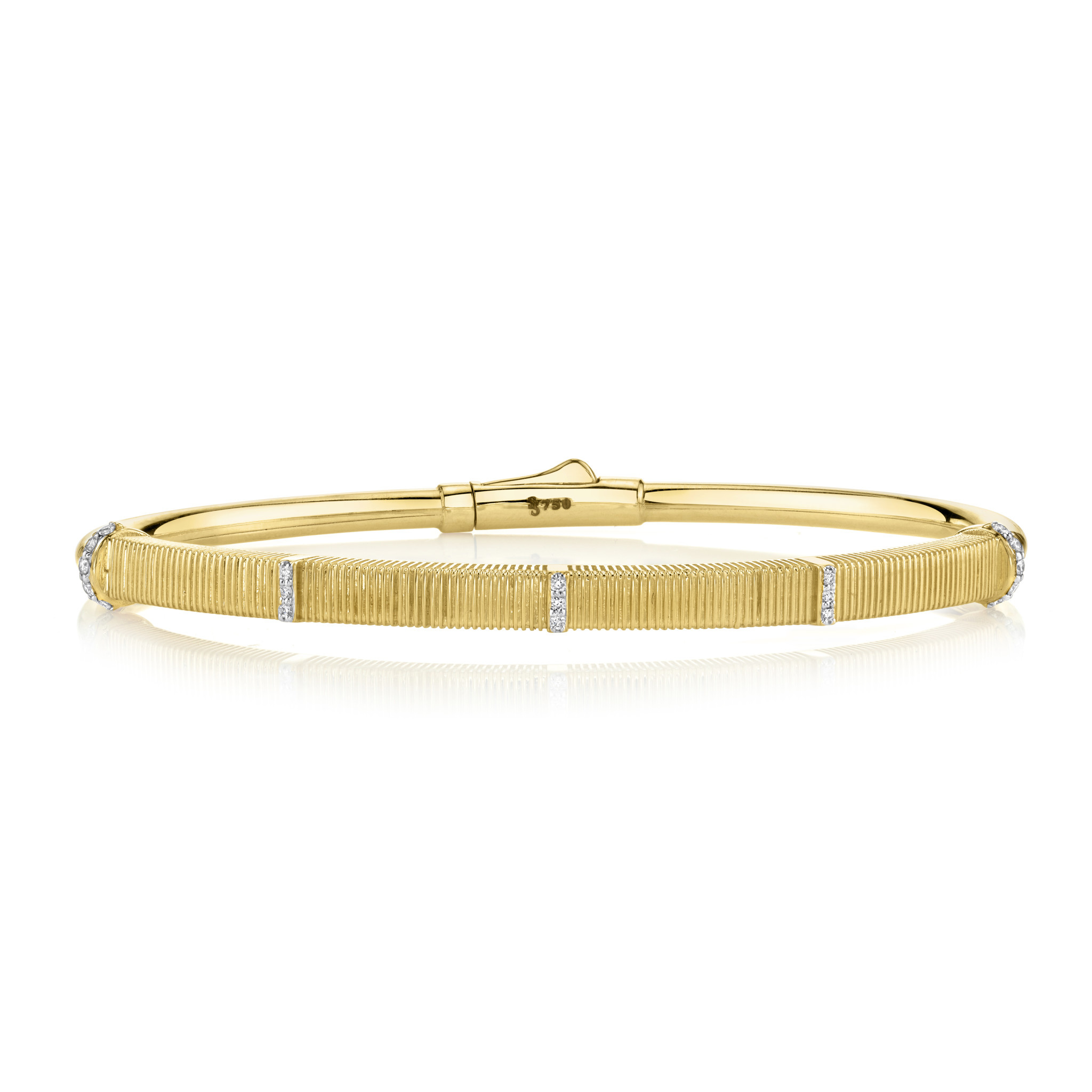 Strie Bracelet with White Diamond Detail, 18K