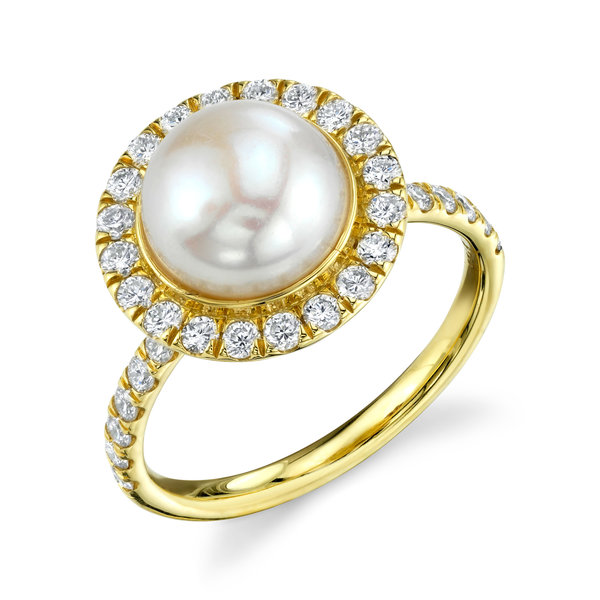 White Pearl Solitaire Ring with White Diamond Detail