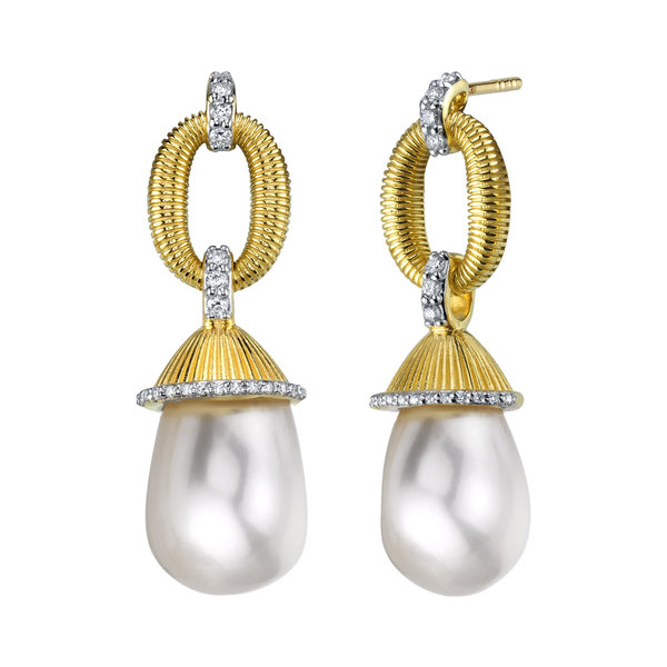 Strie Drop Earrings with White Pearl Briolettes and White Diamond Detail