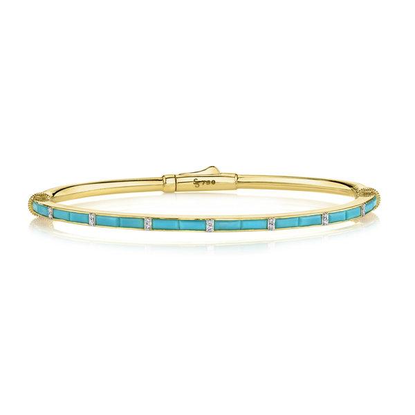 Turquoise Baguette Bracelet with White Diamond Detail