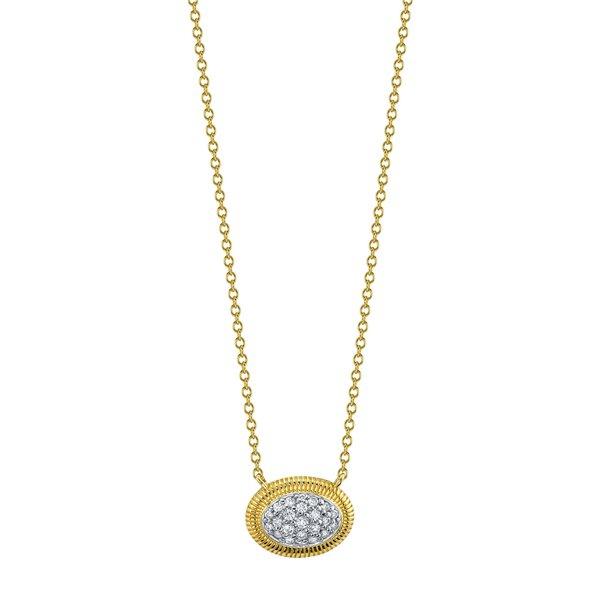 Single Donut Pendant with Pave White Diamond Detail