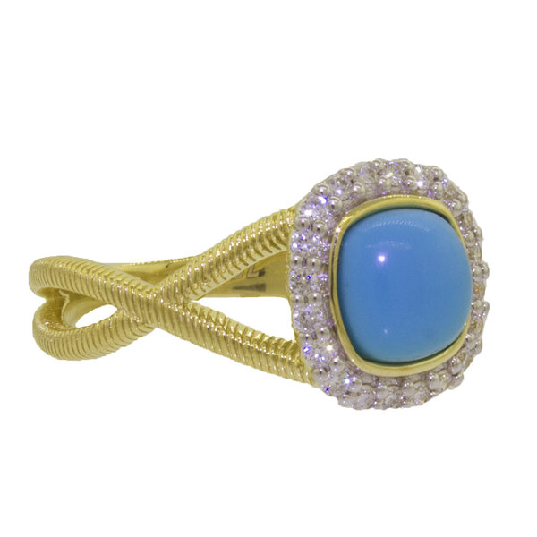Cushion Turquoise with White Diamond Detail