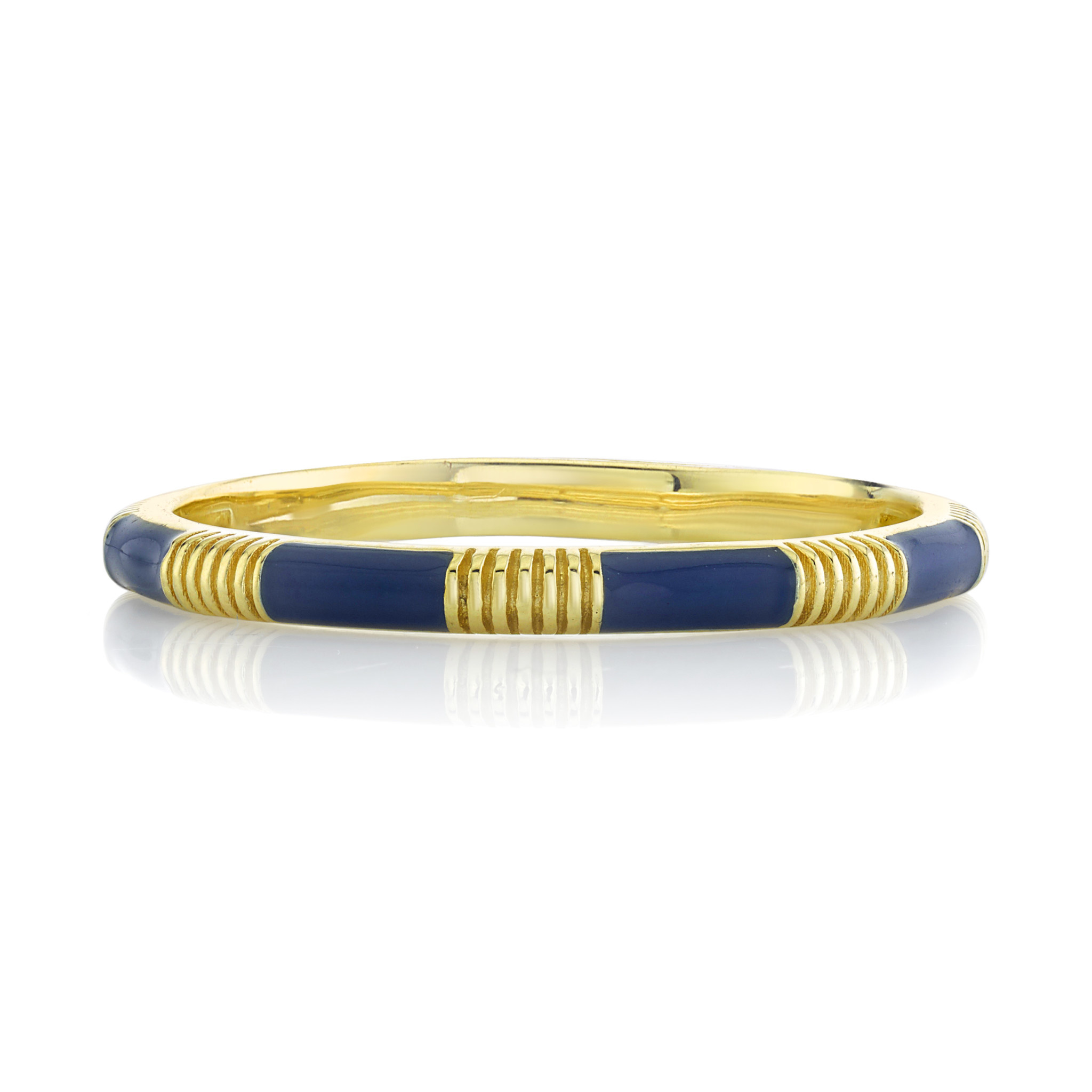 Blue Enamel Stackers Ring with Strie Details