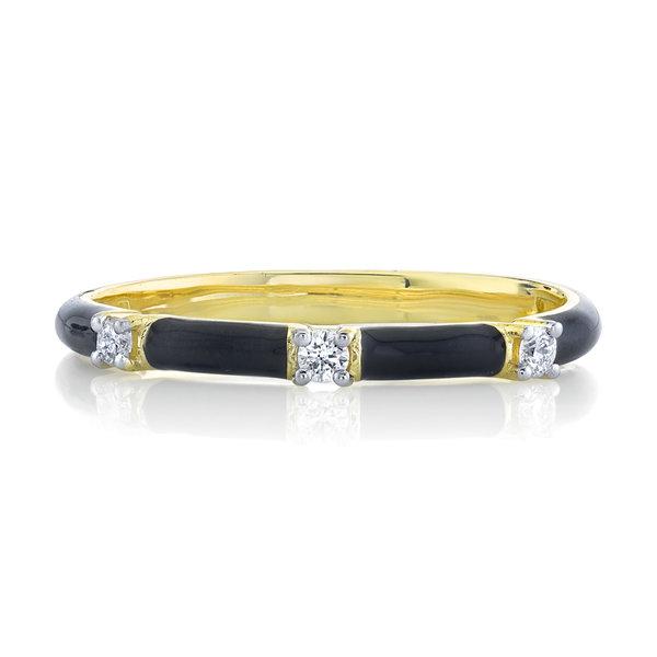 Black Enamel Stackers Ring with White Diamond Detail (7)
