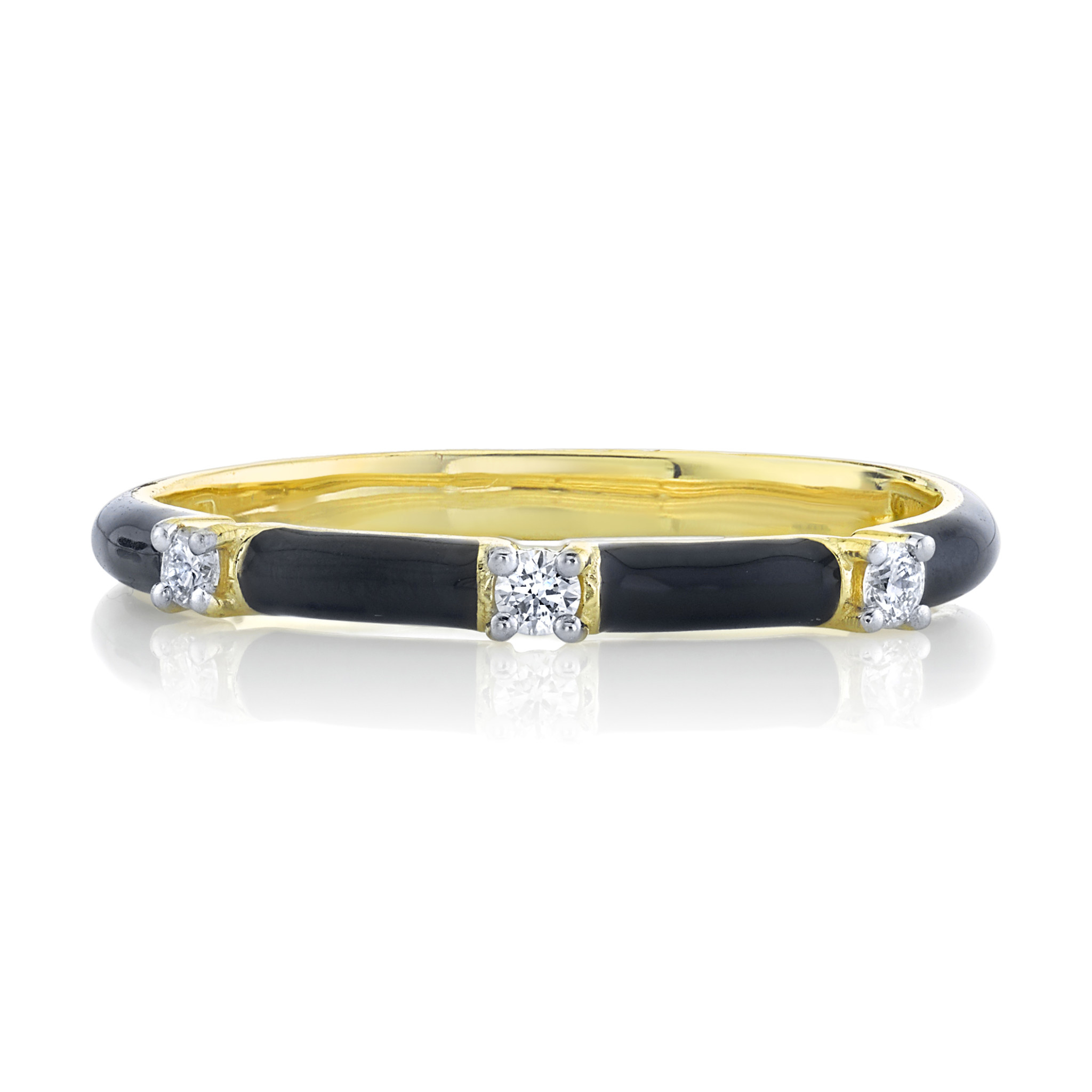 Black Enamel Stackers Ring with White Diamond Detail