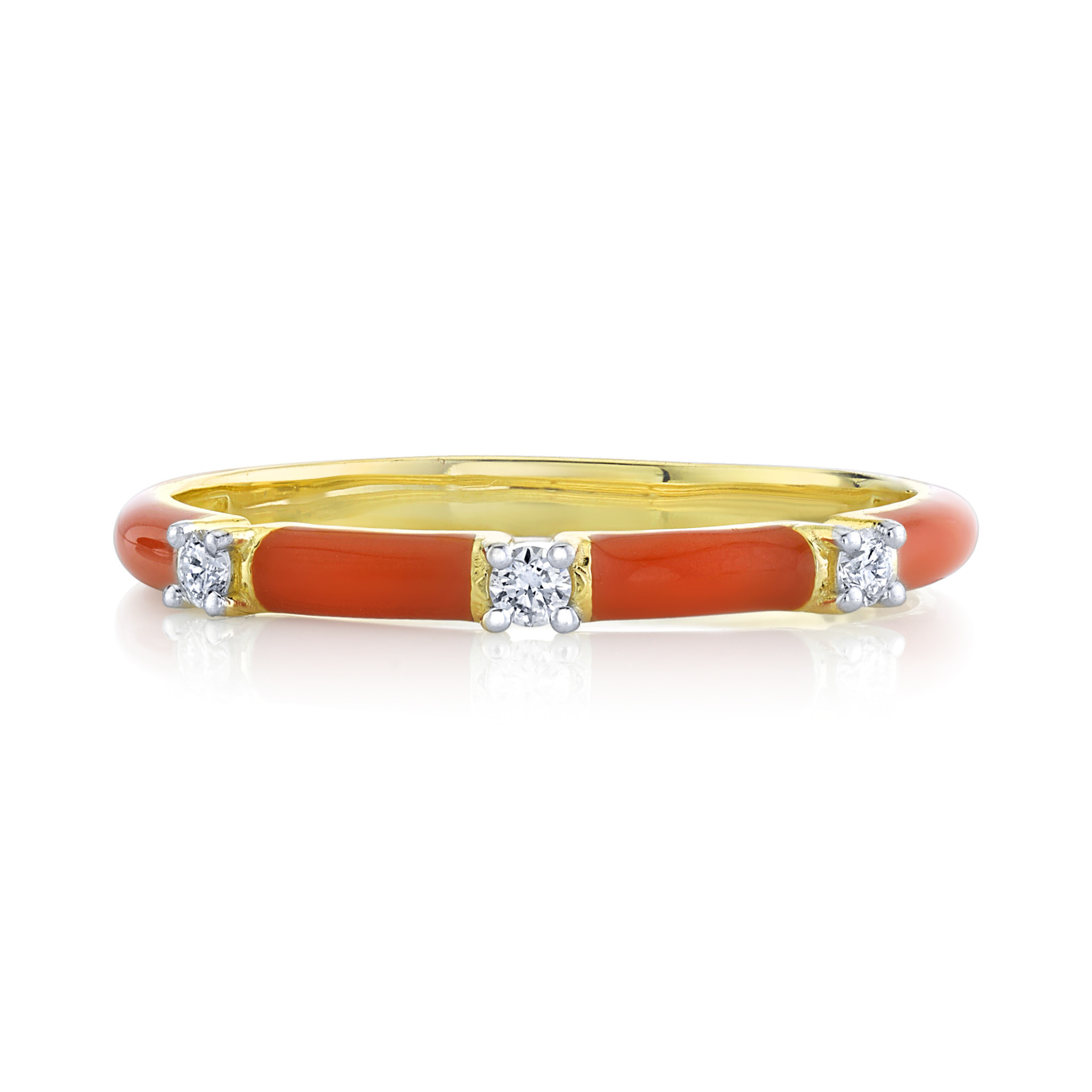 Orange Enamel Stackers Ring with White Diamond Details (7)