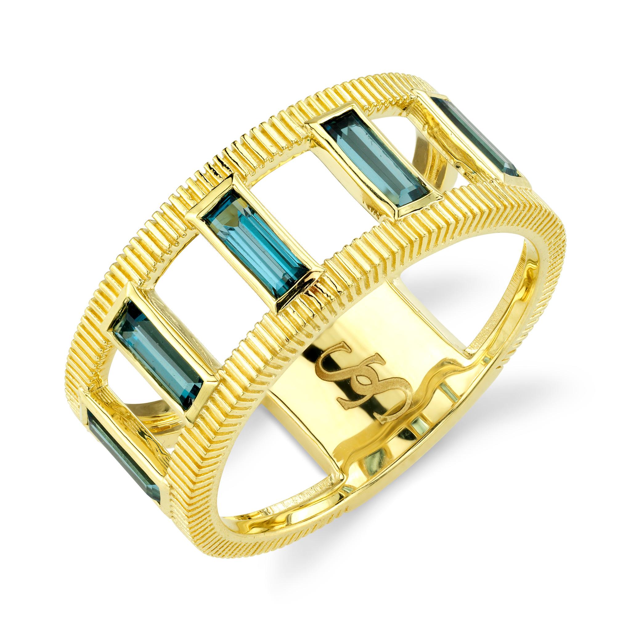 Emerald Cut London Blue Topaz Ring