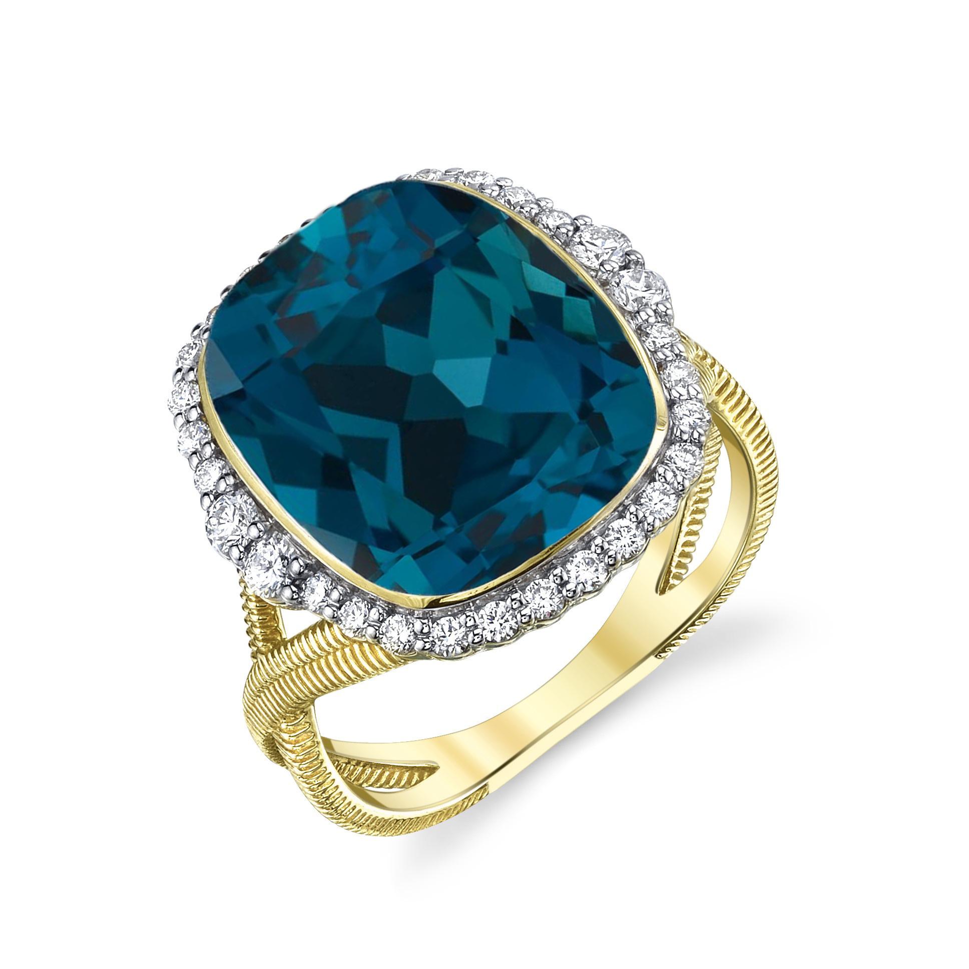 London Blue Topaz Ring with White Diamond Detail