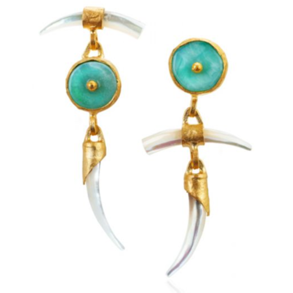 Wabi Sabi Earrings with Mother of Pearl & Peruvian Opal
