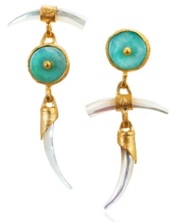 Wabi Sabi Earrings with Mother of Pearl & Peruvian Opal