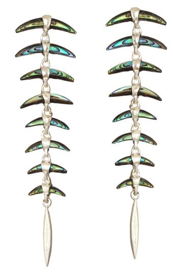 Silver 8 Part Wabi Sabi Carved Paua Shell Earrings
