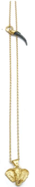 Mini African Elephant Pendant Necklace with Mini Shard