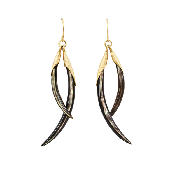 Two Play Black Lip Shell Shard Earrings