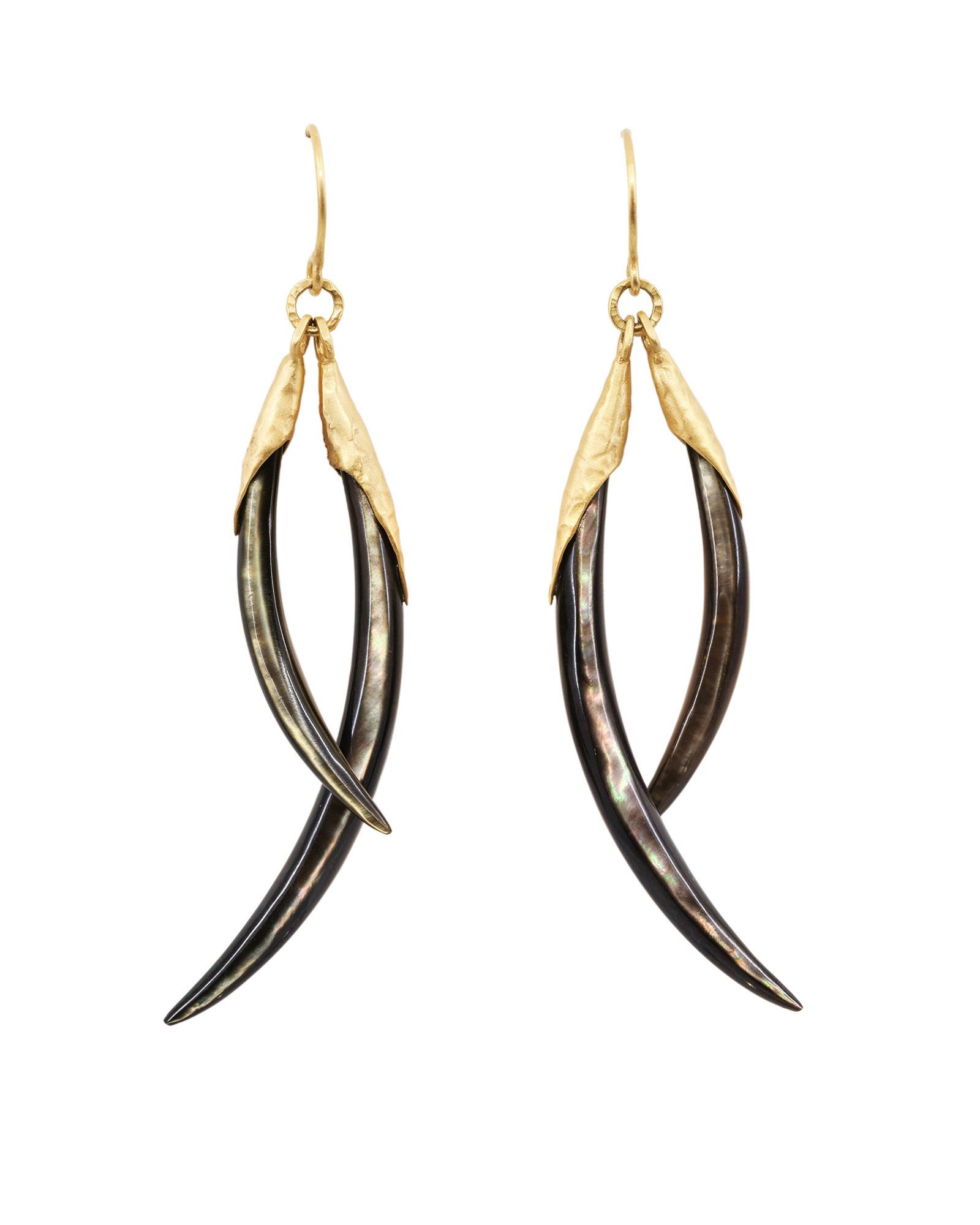 Two Play Black Lip Shell Shard Earrings