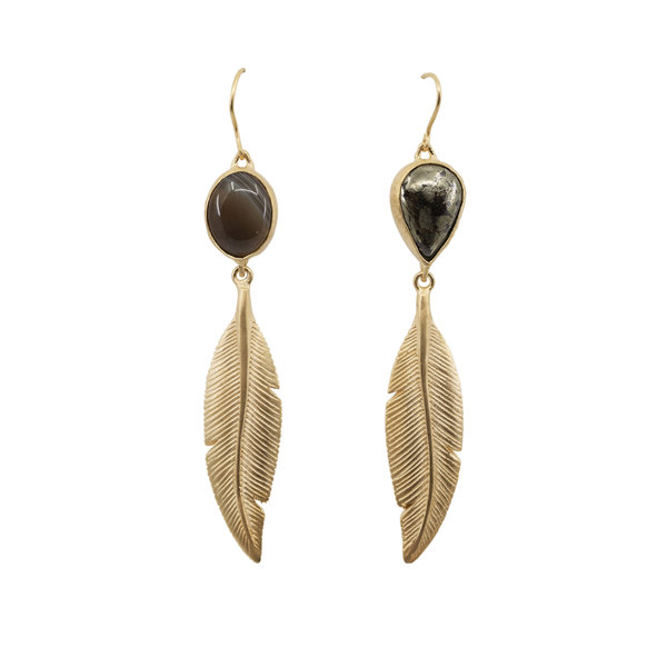 HBJ Gold Plated Feather Earring with Apache Gold and Botswana Agate Top