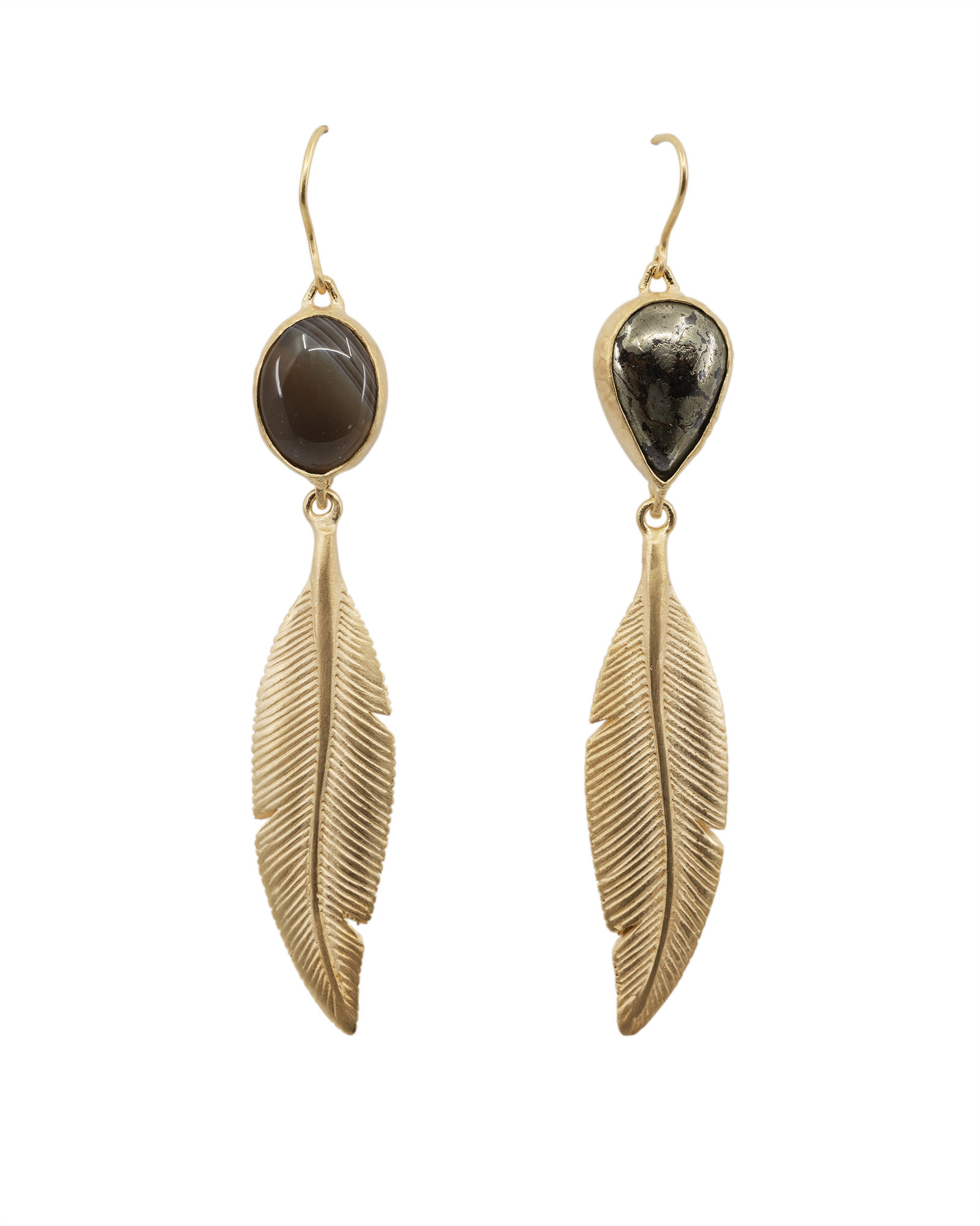 Gold Plated Feather Earring with Apache Gold and Botswana Agate Top