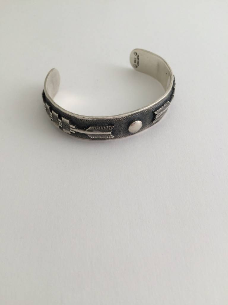 Silver Cuff Bracelet with Engraved Circle and Arrows