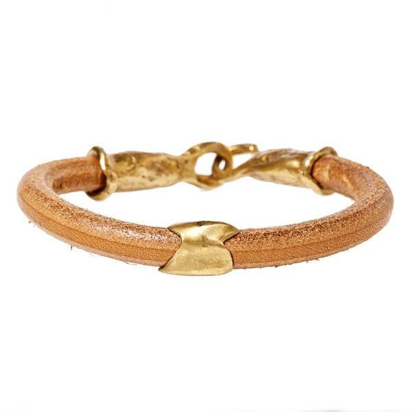 KEYCHAIN BRACELET - NATURAL + GOLD PATINA