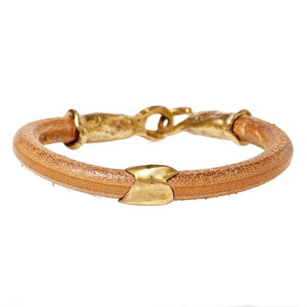 KEYCHAIN BRACELET - NATURAL + GOLD PATINA