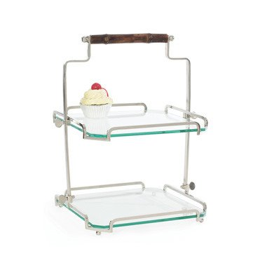Two-Tier Bamboo Handle Stand