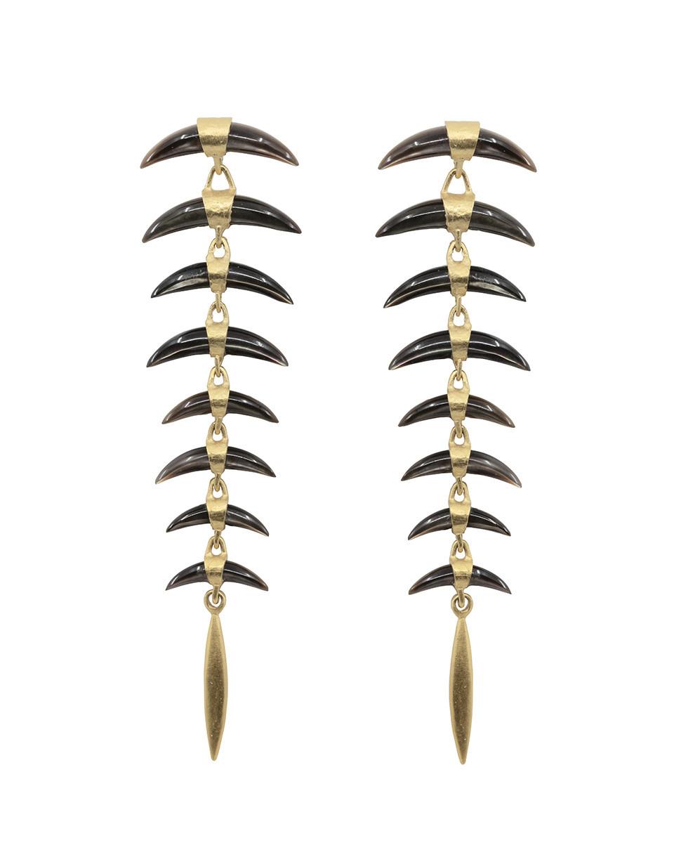 8 Part Wabi Sabi Carved Black Lip Earrings
