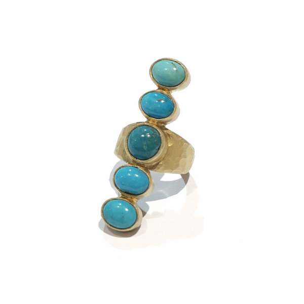 5 Stone Turquoise Pebble Ring