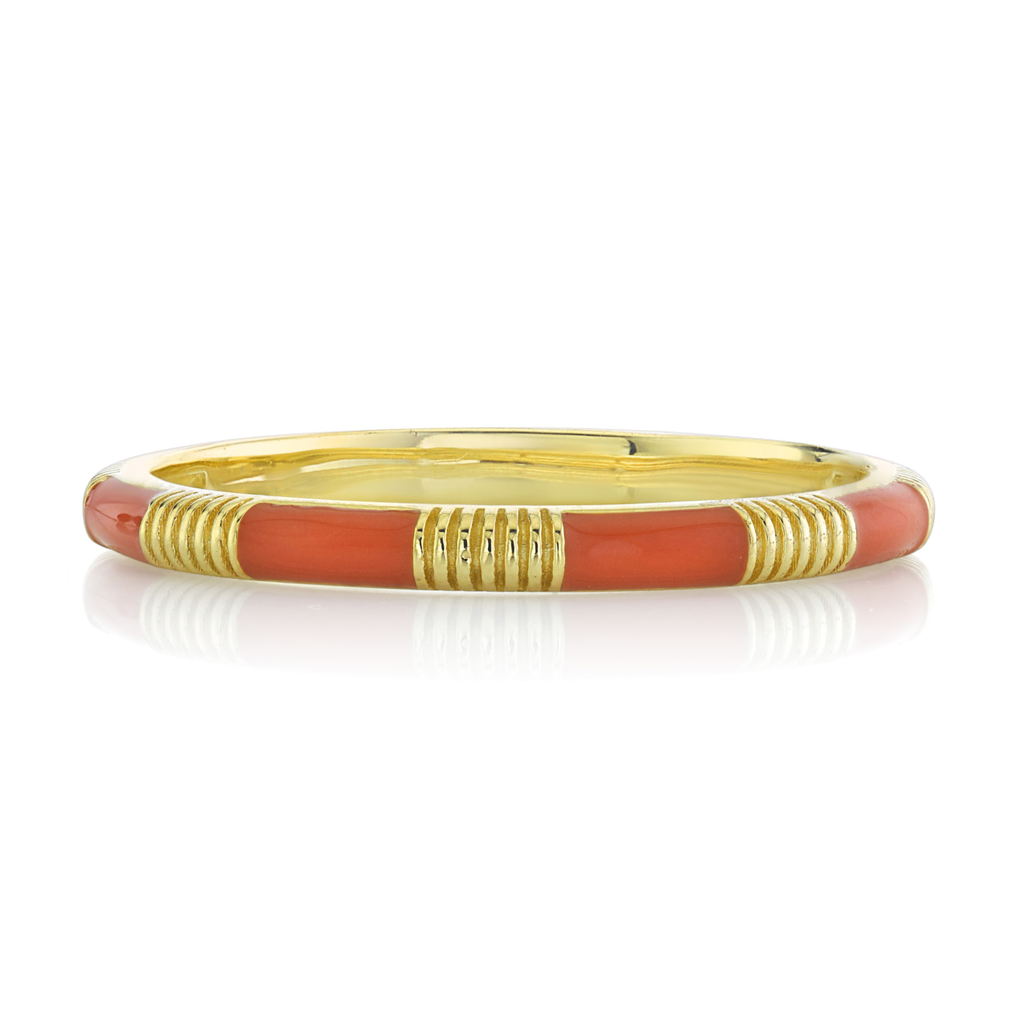 Orange Enamel Stackers Ring with Strie Details
