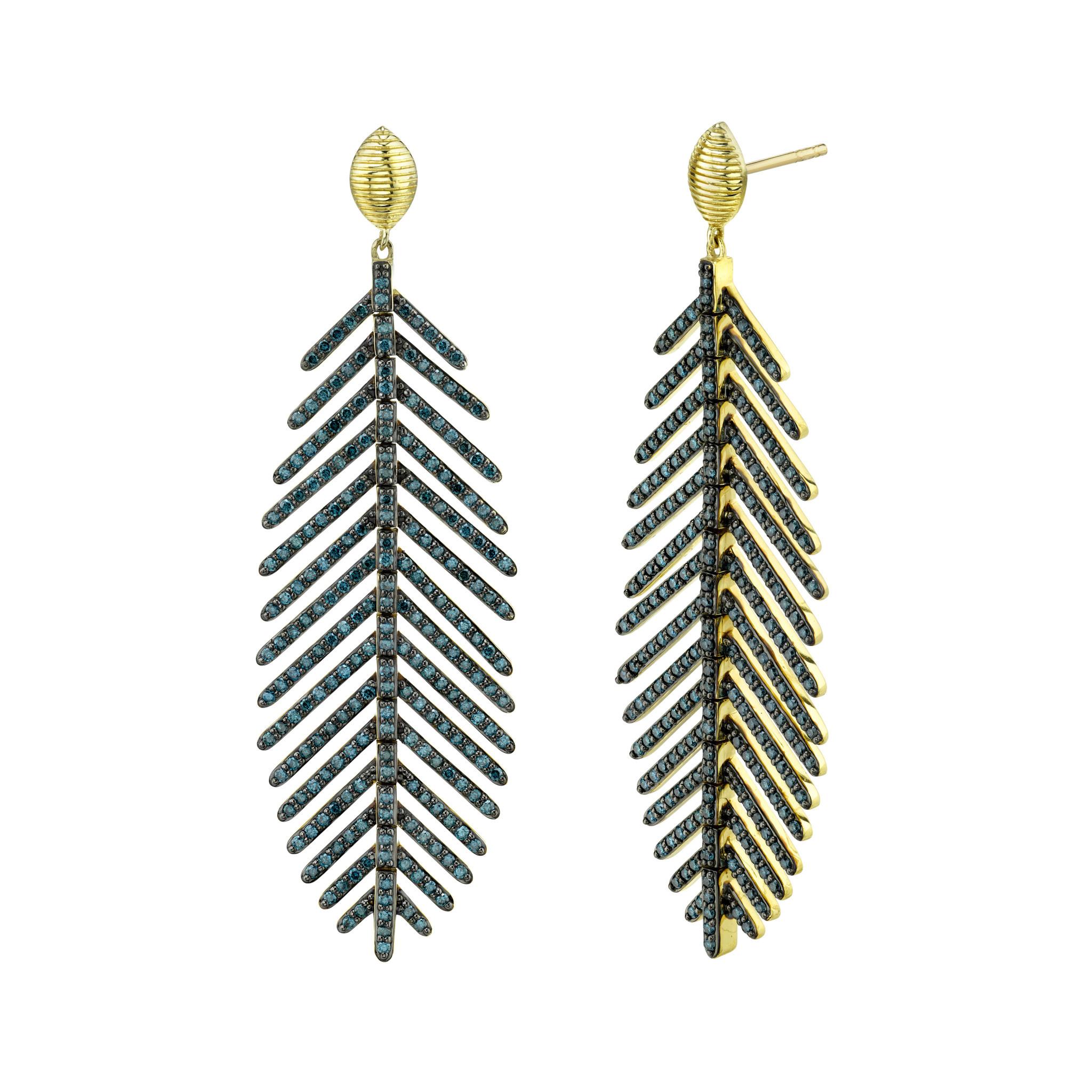 Medium Feather Earring with Blue Diamonds