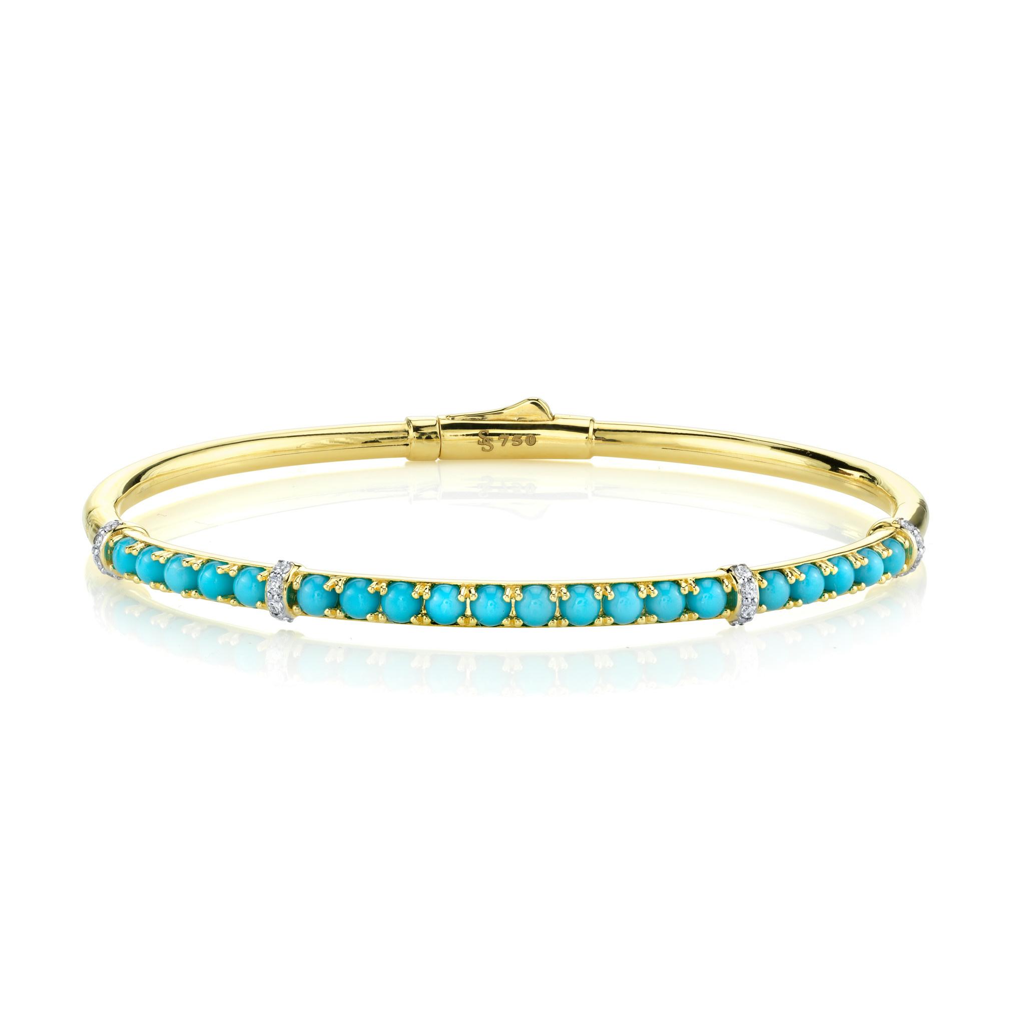Turquoise and White Diamond Bracelet