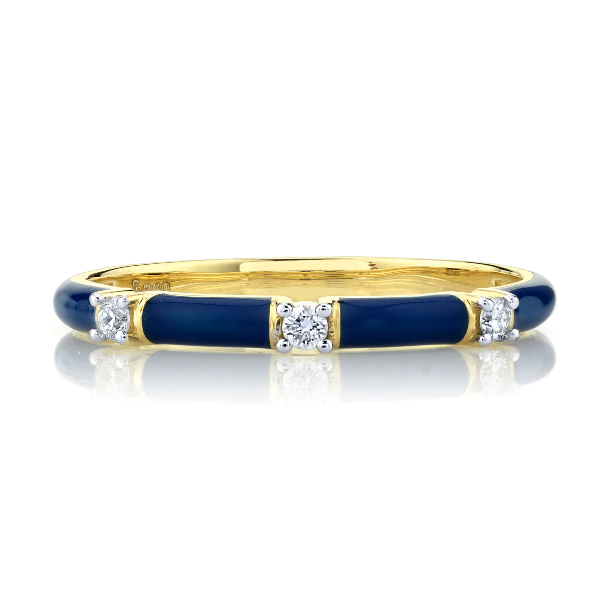 Blue Enamel Stacker Ring with White Diamond Detail 18KY (5.5)