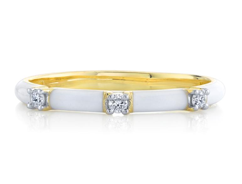 White Enamel Stacker Ring with White Diamond Detail (6)