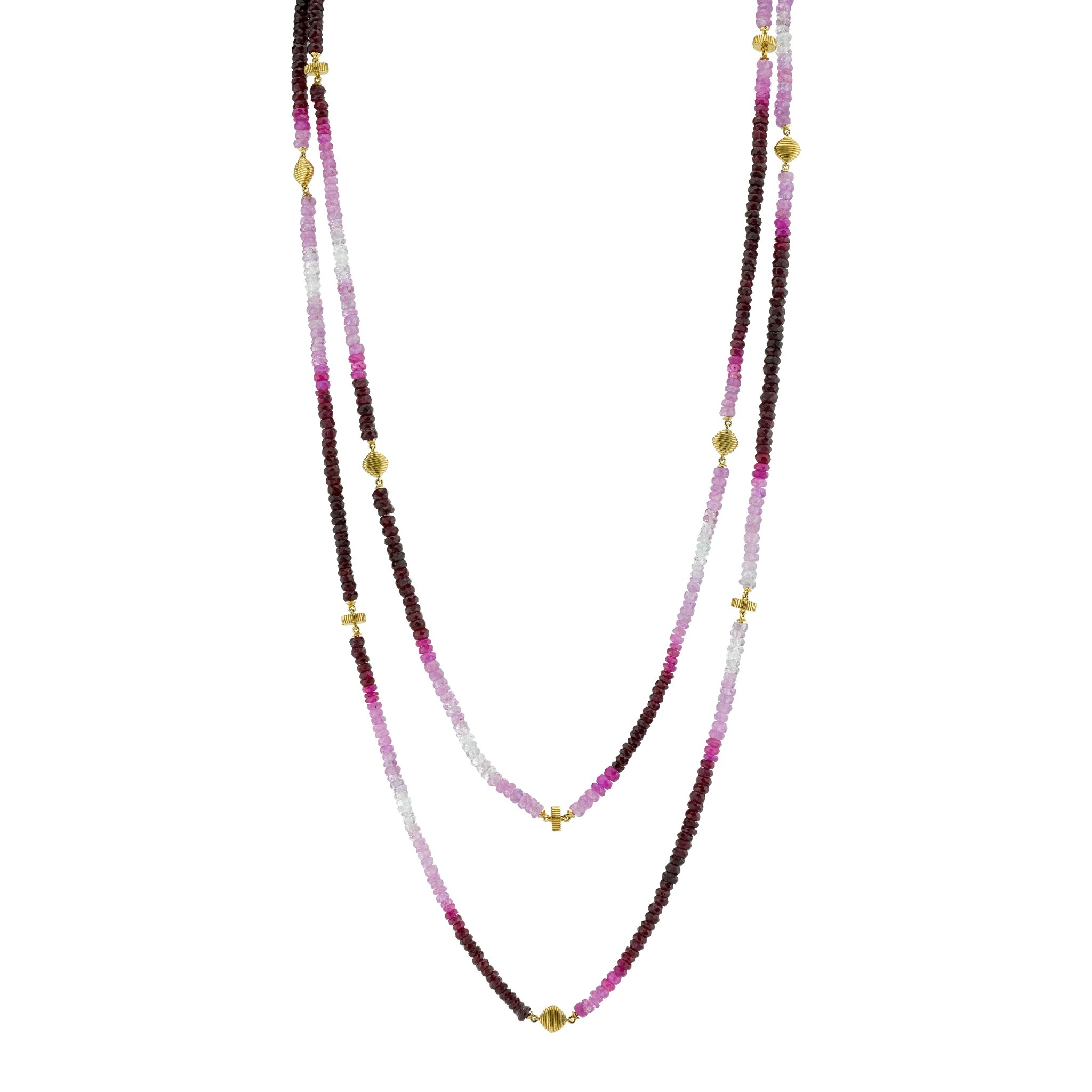 Graduated Ruby Chain with Strie Detail