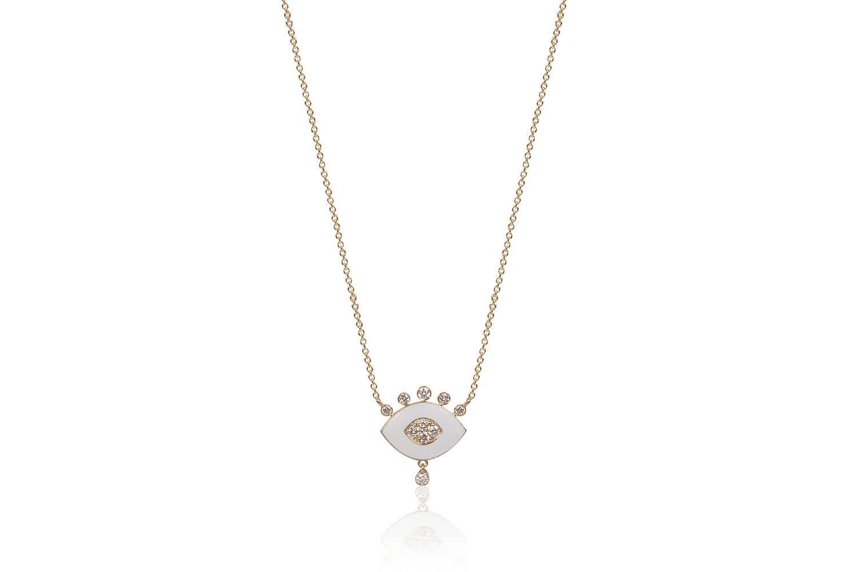 Eye Pendant with White Enamel and White Diamonds