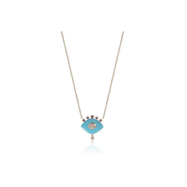 Eye Pendant with Turquoise Enamel and Pink Sapphire