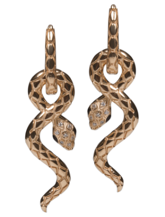 Snake Earrings - Black Enamel