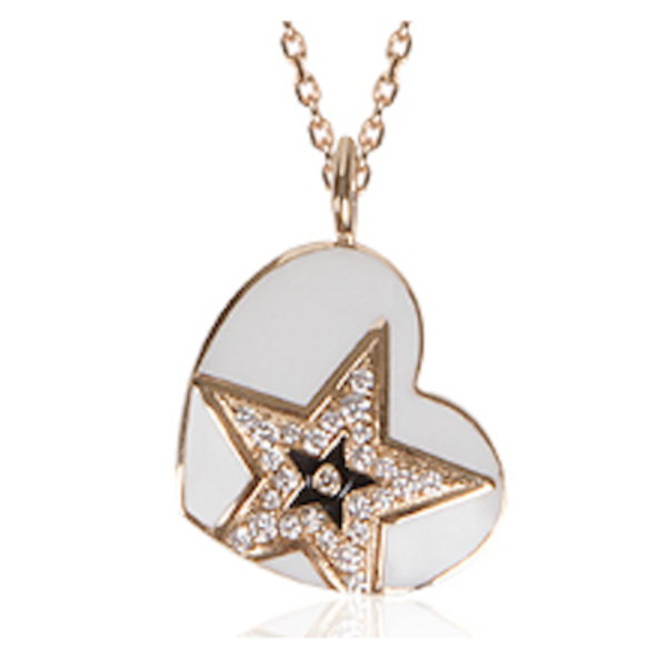 Lucky Star Heart Pendant with  White Diamonds and Black Enamel