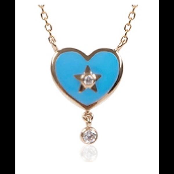 Destiny Heart Pendant with Blue Enamel and White Diamonds