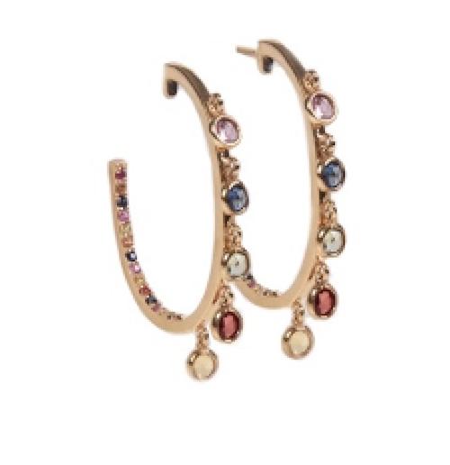 Large Multicolor Sapphire Stone Earrings