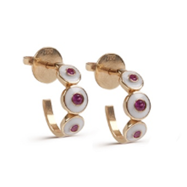 White Enamel with Pink Sapphire Earrings