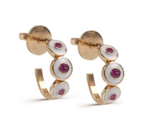 White Enamel with Pink Sapphire Earrings