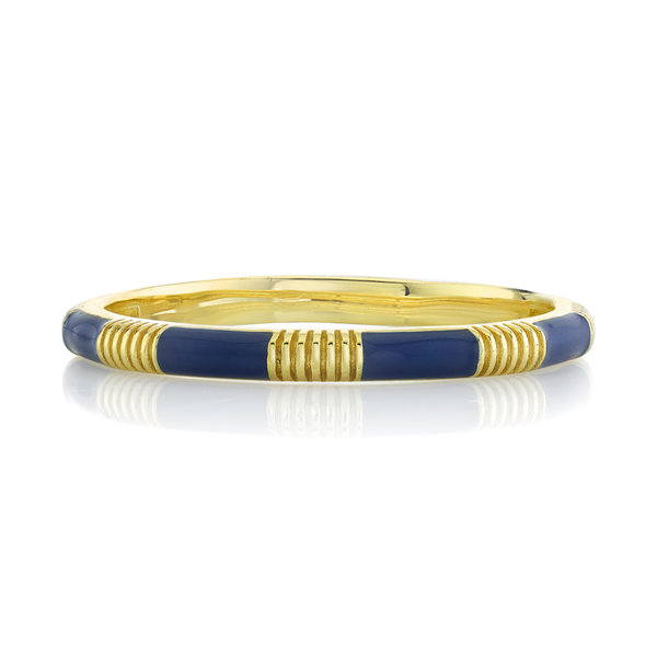 Blue Enamel Stacker Band with Strie Detail (6)